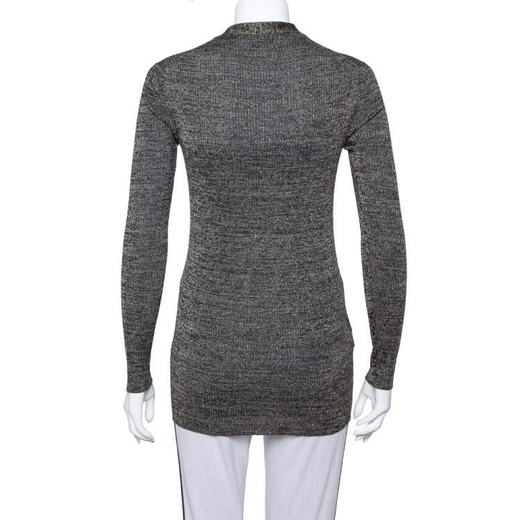 Prada Metallic Lurex Rib Knit Button Front Cardigan M