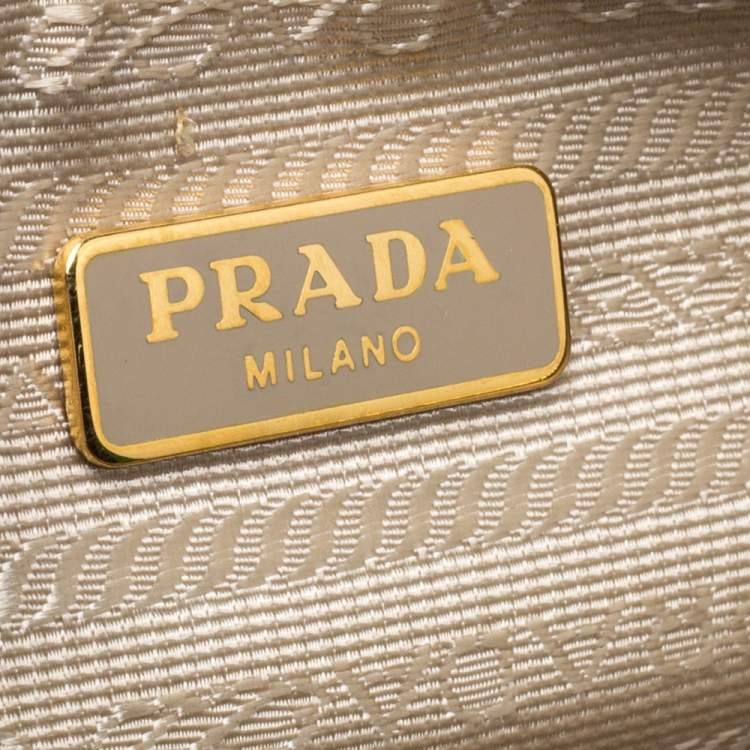 Prada Yellow Perforated Patent Leather Tote
