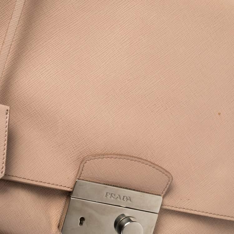 Prada Pink Saffiano Lux Leather Flap Top Handle Bag