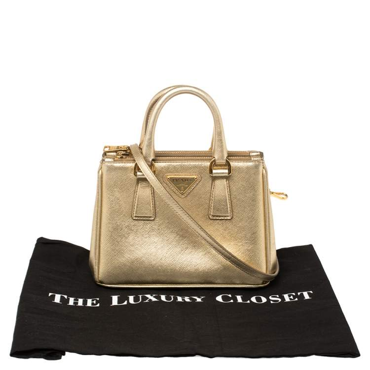 Prada Gold Saffiano Lux Leather Galleria Mini Bag