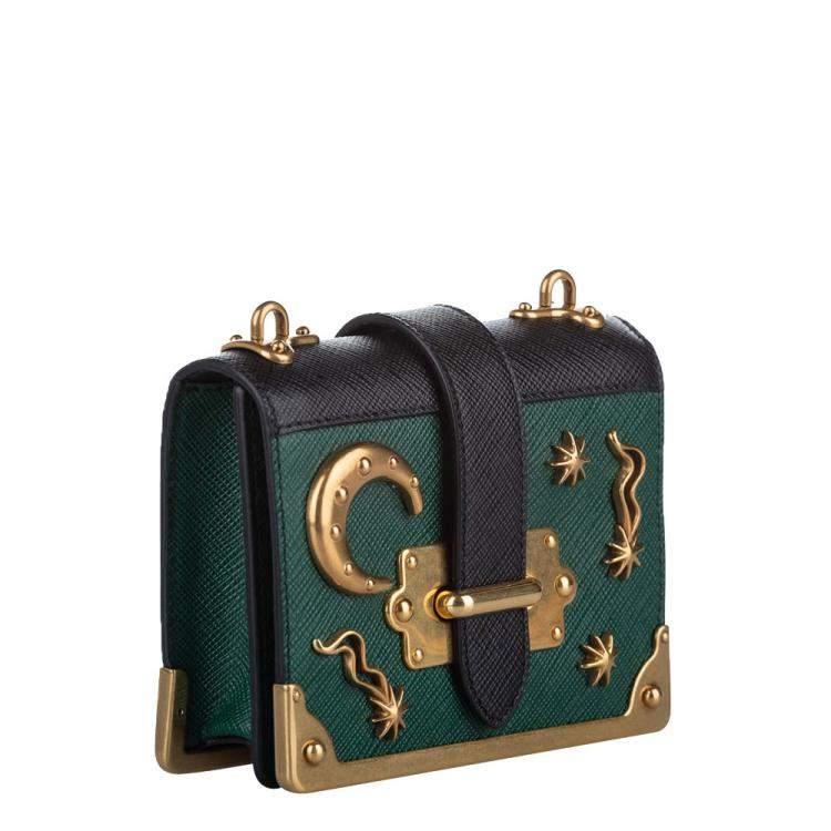 Prada Green/Black Leather City Calf Cahier Astrology Shoulder Bag