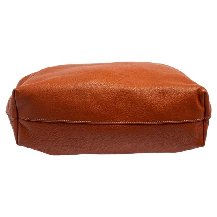 Prada Orange Vitello Daino Leather Shopping Tote