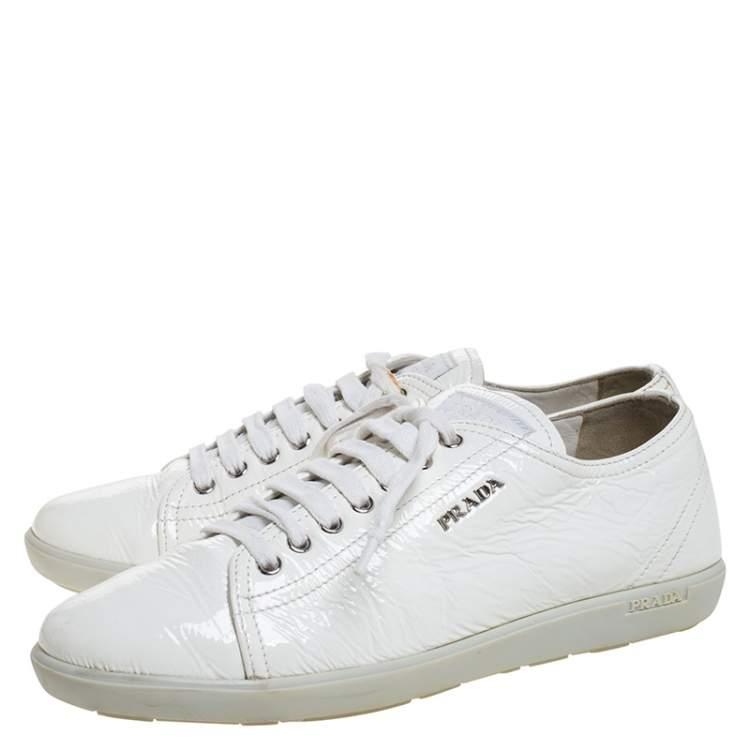 Prada Sport White Patent Leather Lace