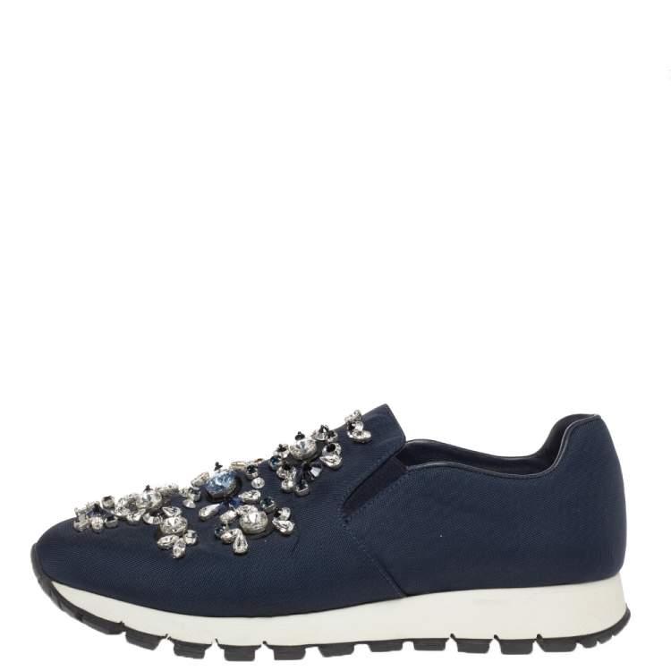 Prada Navy Blue Canvas Crystal Embellished Slip On Sneakers Size 39
