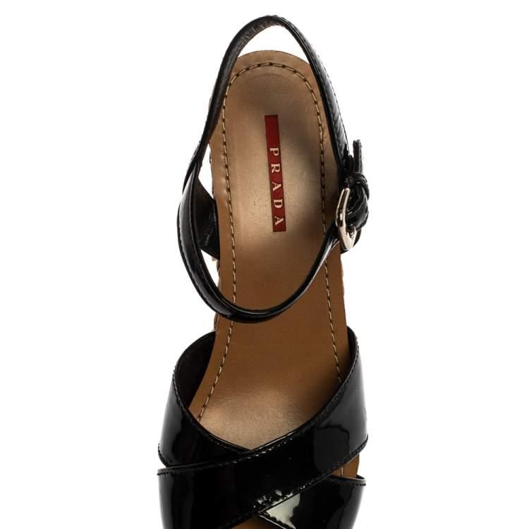 Prada Black Patent And Woven Raffia Platform Block Heel Sandals Size 39
