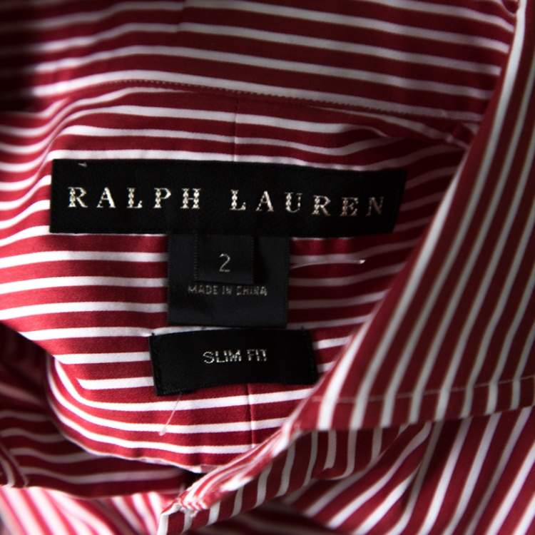 Ralph Lauren Red and White Striped Long Sleeve Button Front Shirt S