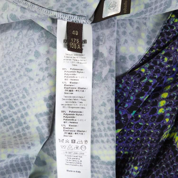 Roberto Cavalli Purple Snakeskin Print Stretch Jersey Maxi Dress L