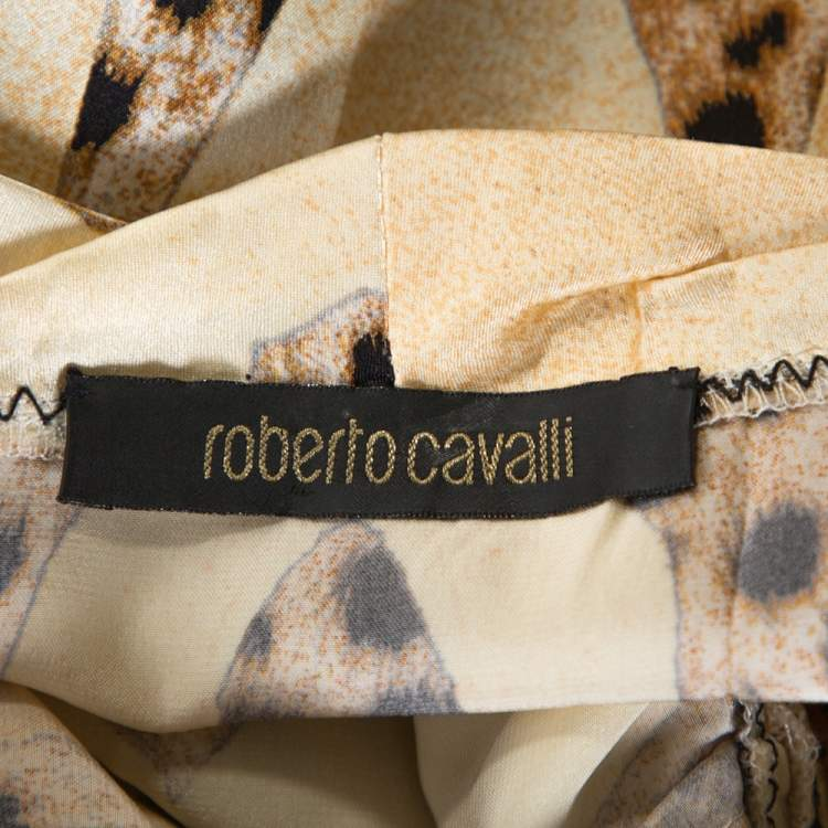 Roberto Cavalli Cream and Beige Silk Leopard Print Short Sleeve Top S
