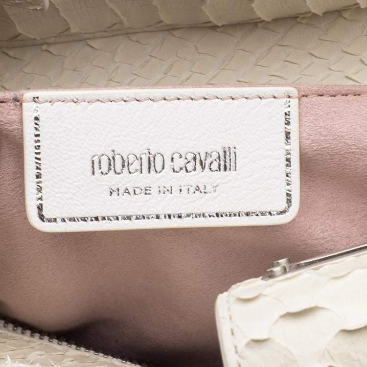 Roberto Cavalli Off White Python Florence Tote