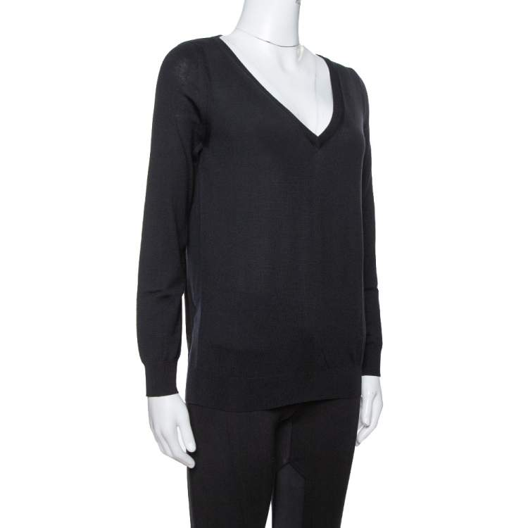 Saint Laurent Paris Black Wool V-Neck Sweater S