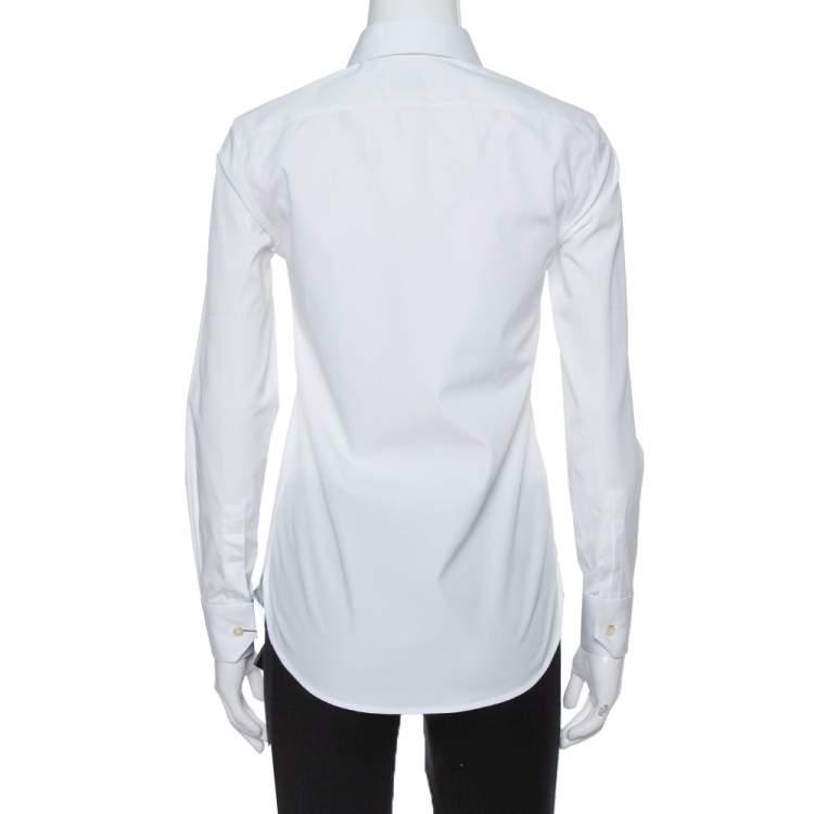 Saint Laurent Paris White Cotton Button Front Shirt S