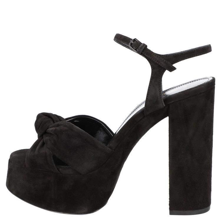 Saint Laurent Black Suede Bianca Sandals Size EU 39.5