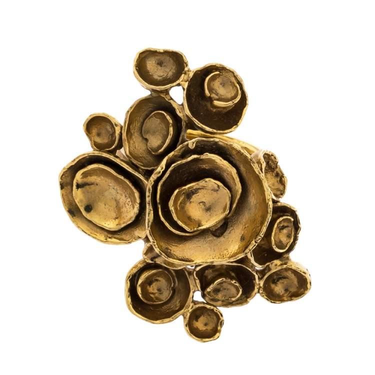 Yves Saint Laurent Paris Arty Flower Gold Tone Ring 54.5