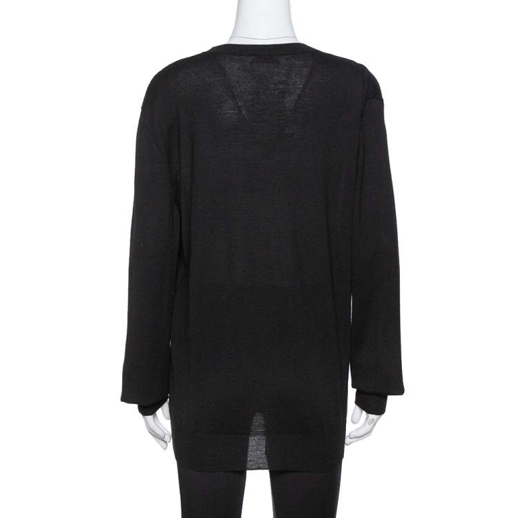 Saint Laurent Paris Black Wool Crew Neck Sweater XXL