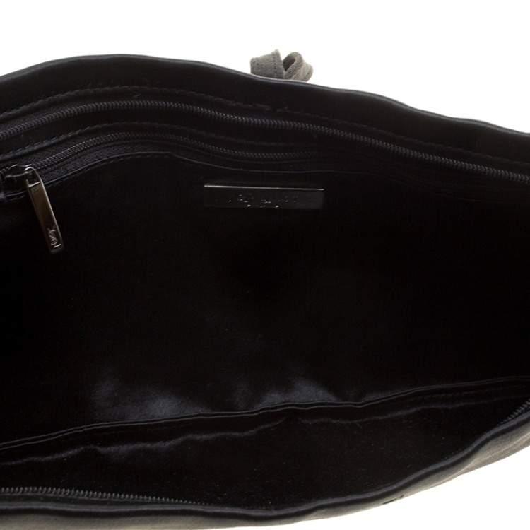 Yves Saint Laurent Black Satin Flat Clutch