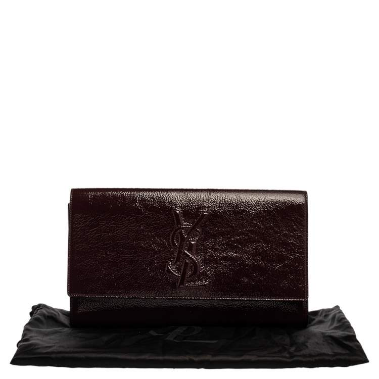 Yves Saint Laurent Burgundy Patent Leather Belle De Jour Flap Clutch