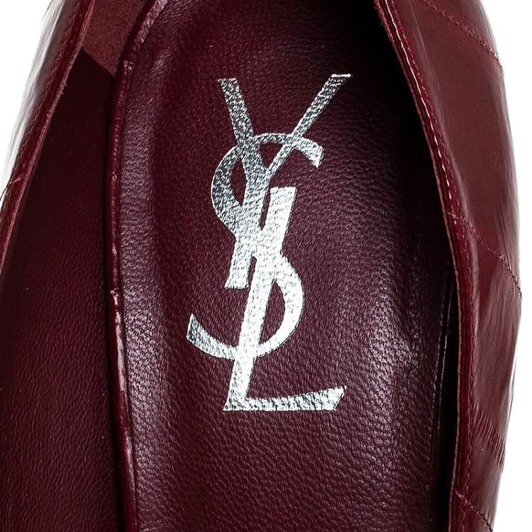 Saint Laurent Paris Burgundy Leather Divine Platform Pumps Size 41