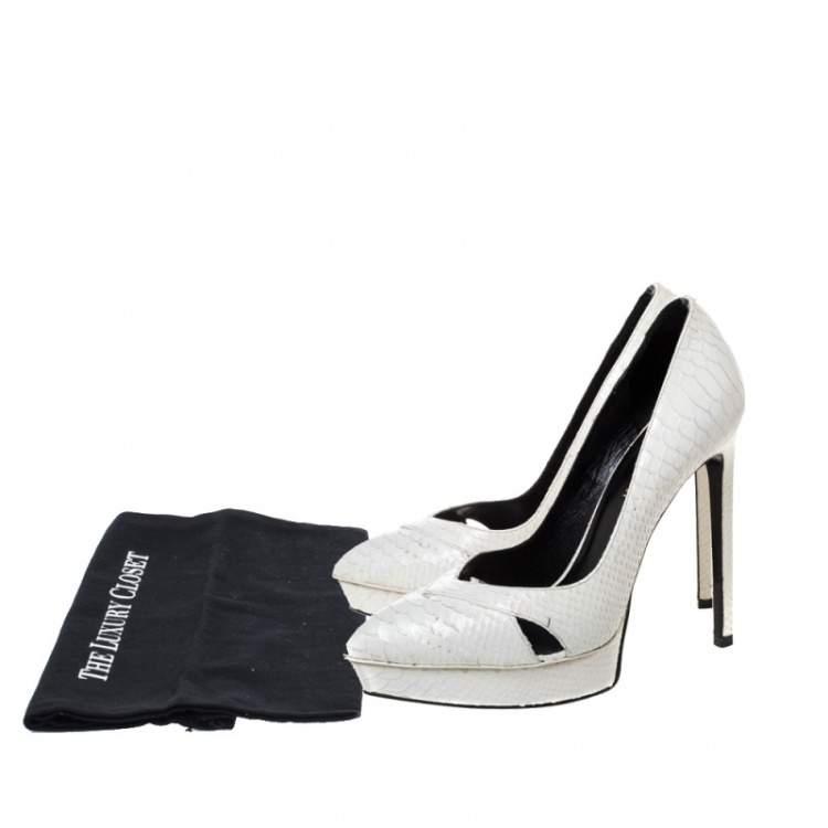 Saint Laurent White Leather Janis Cut Out Platform Pumps Size 37