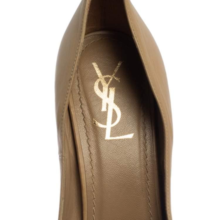 Saint Laurent Paris Beige Leather Peep Toe Platform Pumps Size 40
