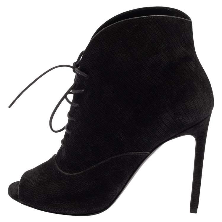 Saint Laurent Black Nubuck Lace Up Peep Toe Booties Size 35.5