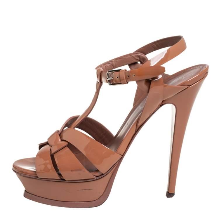 Saint Laurent Brown Patent Leather Tribute Sandals Size 38.5