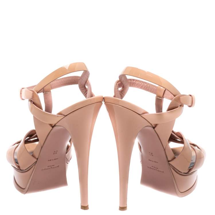 Saint Laurent Beige Patent Leather Tribute Ankle Strap Sandal Size 38