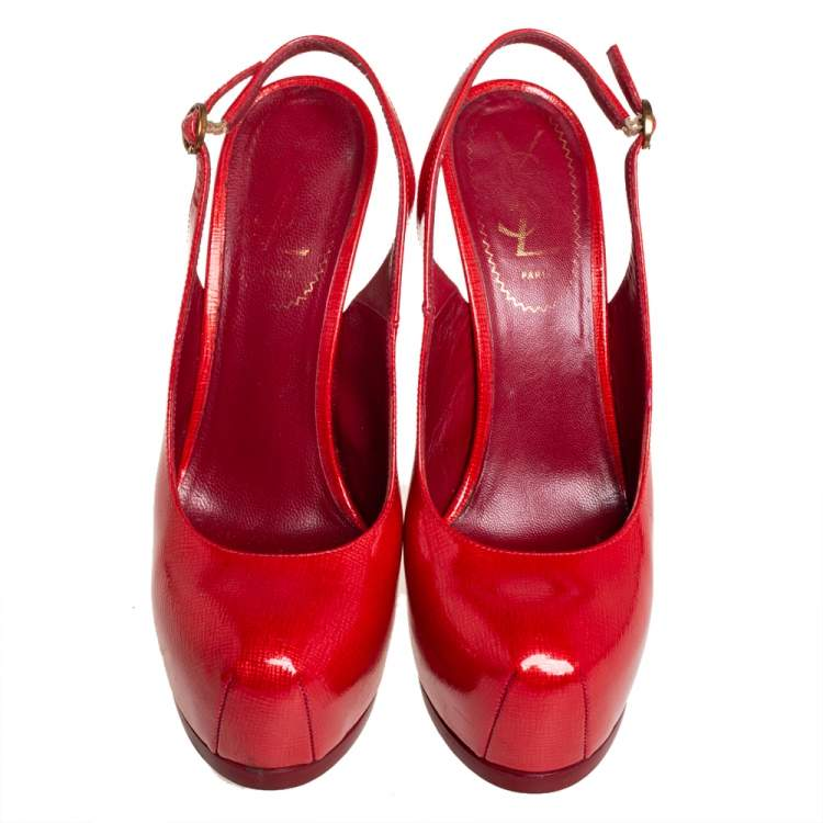 Saint Laurent Red Patent Leather Tribtoo Sandals Size 37.5