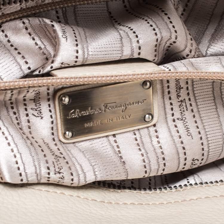 Salvatore Ferragamo Ivory Embroidered Leather Sofia Satchel