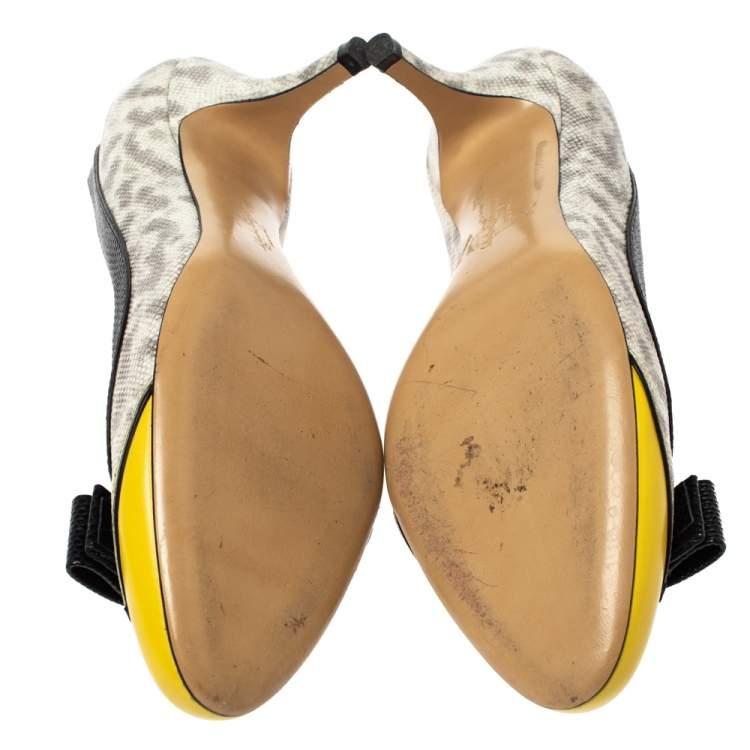Salvatore Ferragamo Tricolor Lizard Embossed Leather Vara Bow Pumps Size 37.5