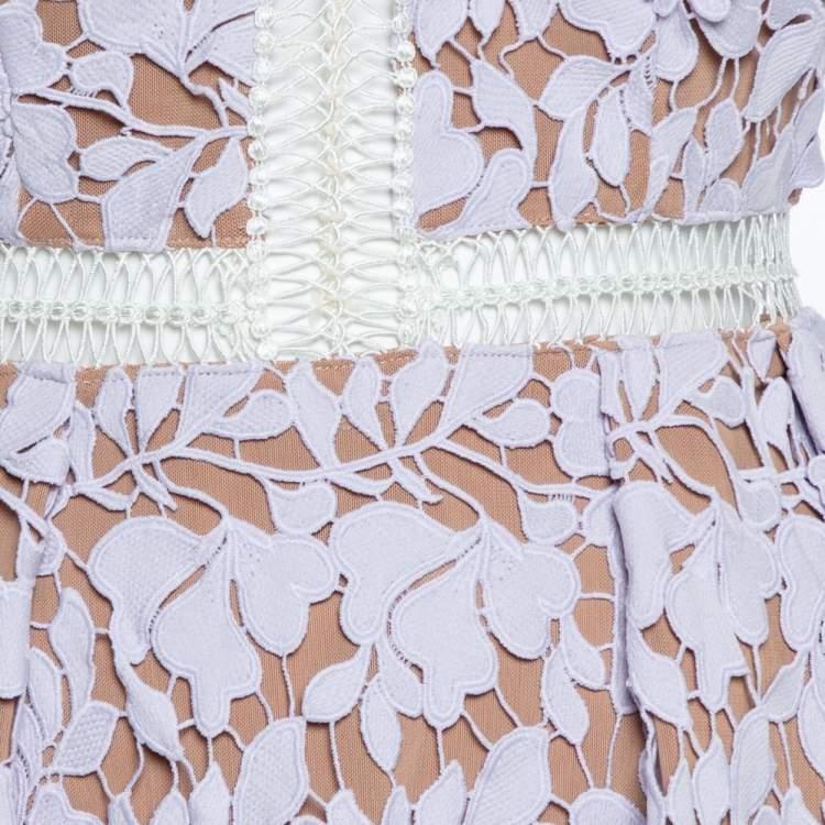 Self Portrait Pale Lilac Guipure Lace Sleeveless Midi Dress S