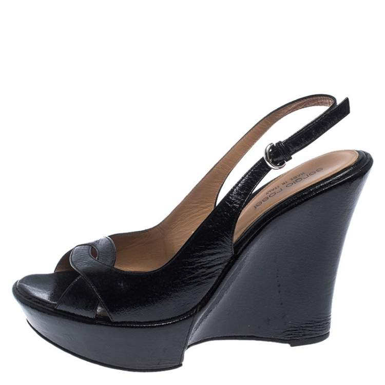 Details about  /Sergio Rossi Black Buckle Platform Wedge Shoes