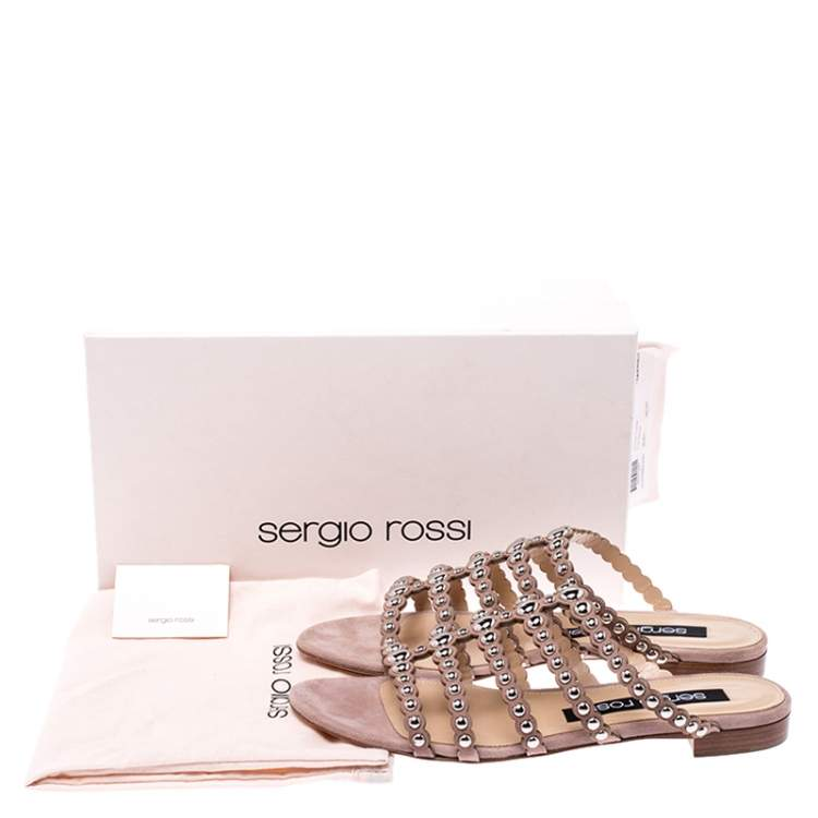 Sergio Rossi Beige Suede Studded Strappy Flat Slides Size 37