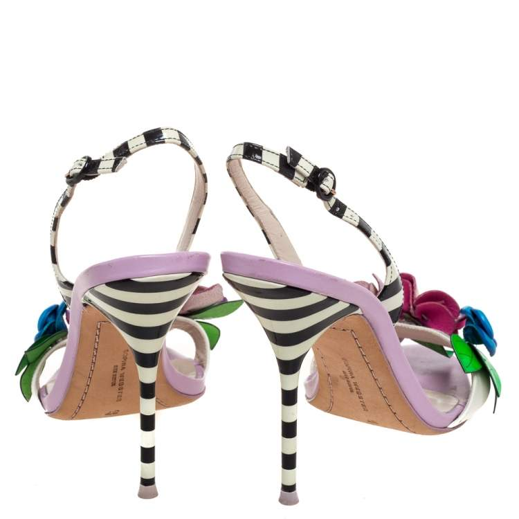 Sophia Webster Multicolor Patent Leather And Leather Lilico Floral Embellished Slingback Sandals Size 37