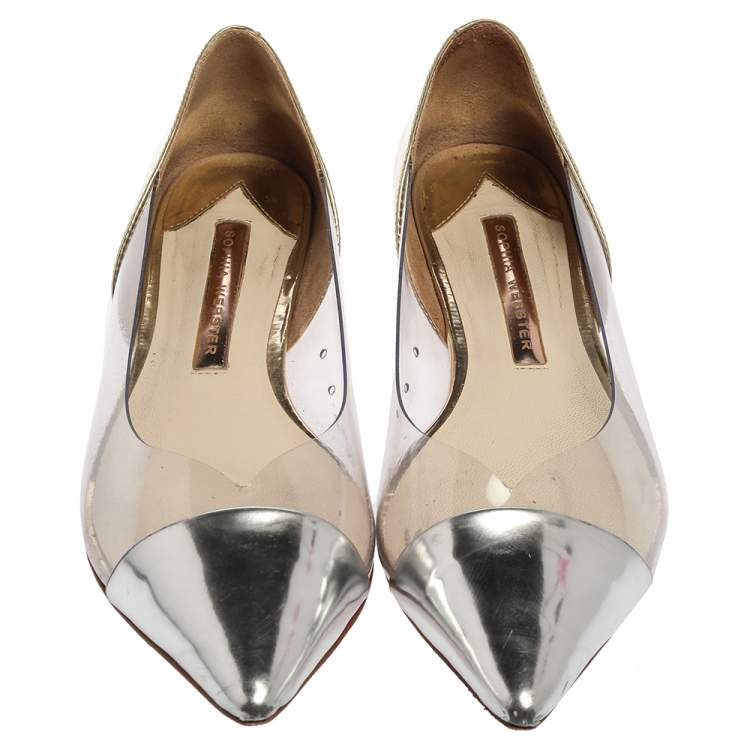 Sophia Webster Silver/Gold Leather  And PVC Daria Flats Size 38