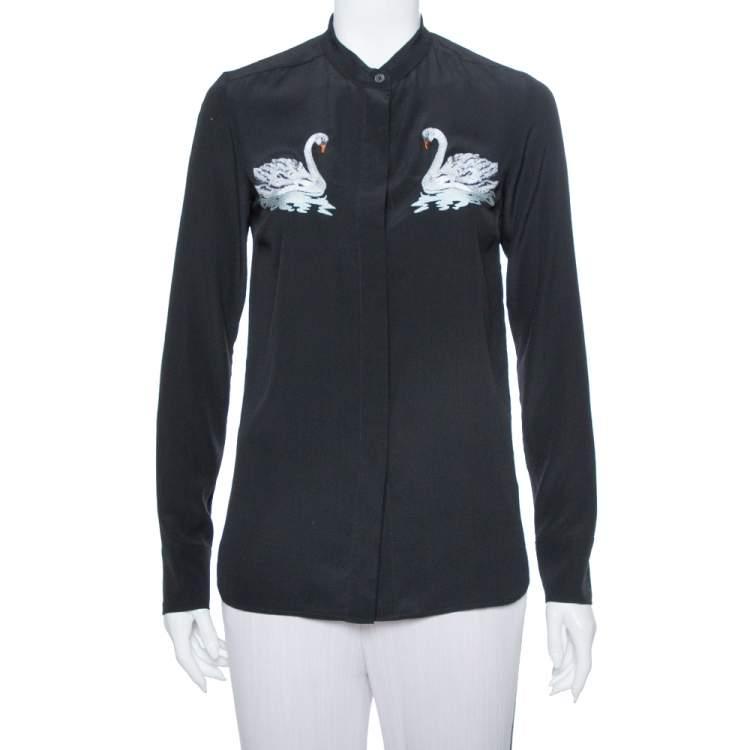 Stella McCartney Black Swan Embroidered Silk Shirt S