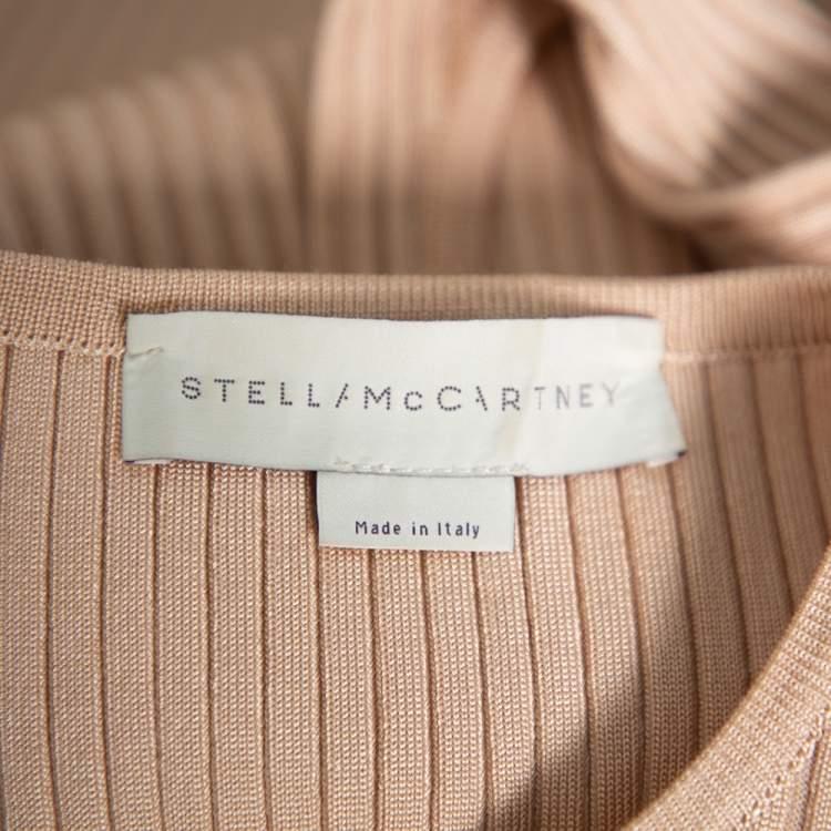 Stella McCartney Beige Rib Knit Sleeveless Flared Top & Flared Pants Set S