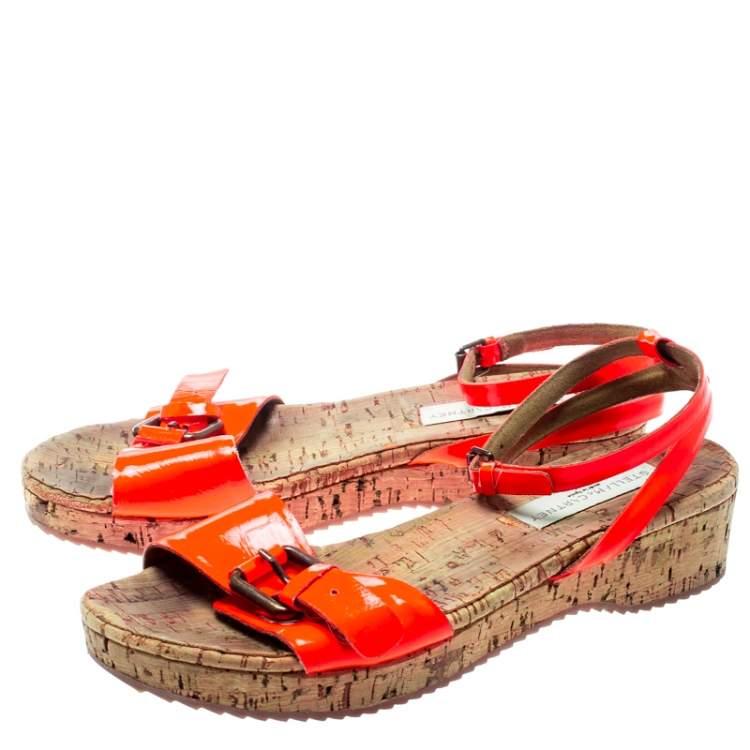 Stella McCartney Neon Orange Faux Leather Linda Ankle Strap Flat Sandals Size 35