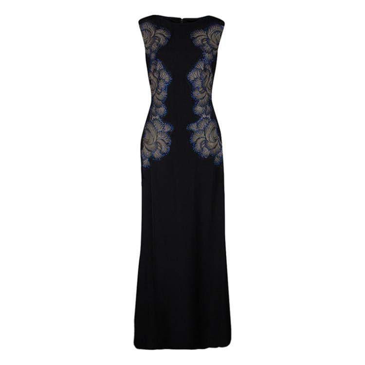 Tadashi Shoji Black Lace Applique Side Panel Detail Embellished Sleeveless Gown M