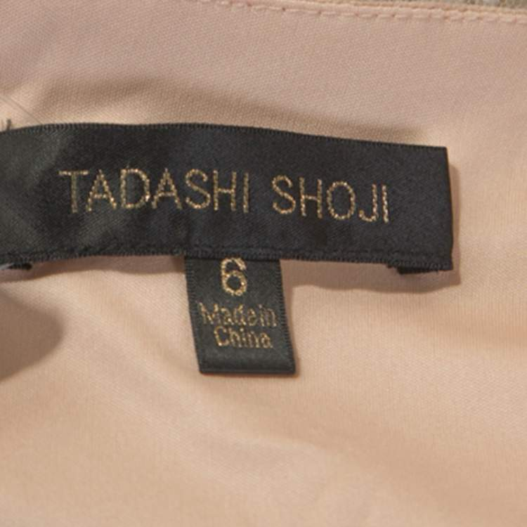 Tadashi Shoji White Crochet and Tulle Fishtail Gown M