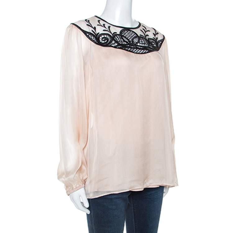 Temperley Pale Pink Chiffon Contrast Embroidery Detail Blouse L