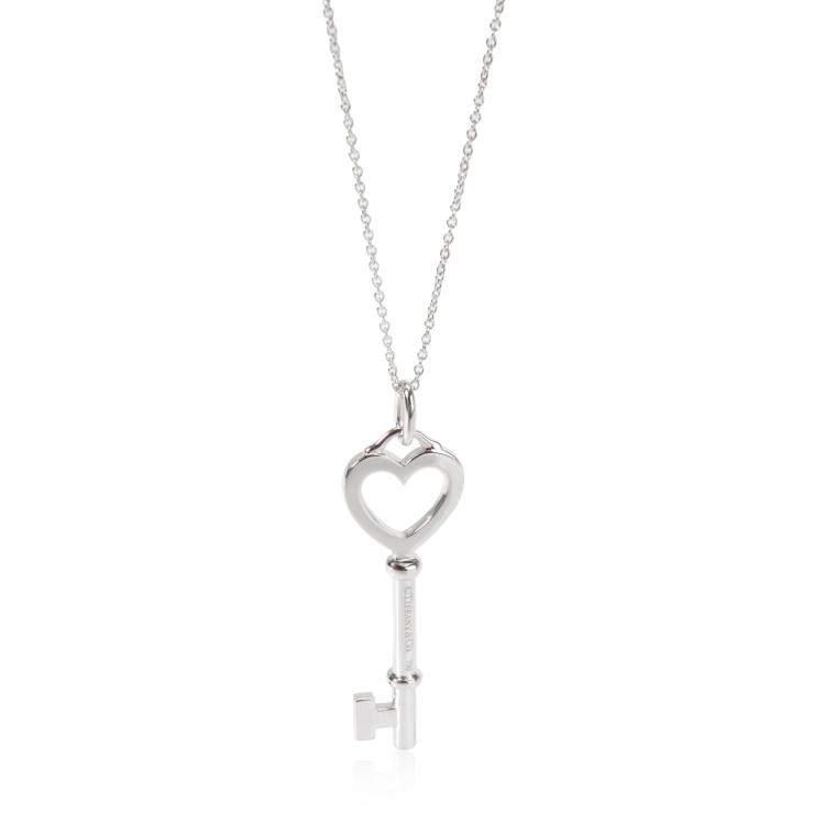 Tiffany & Co. Keys 0.05 CTW Diamond 18K White Gold Pendant Necklace