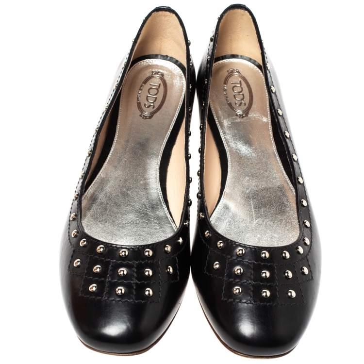 حذاء باليرينا فلات تودز مرصع جلد أسود مقاس 40
