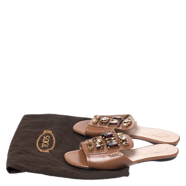Tod's Brown Leather Crystal Embellished Open Toe Flat Slides Size 39