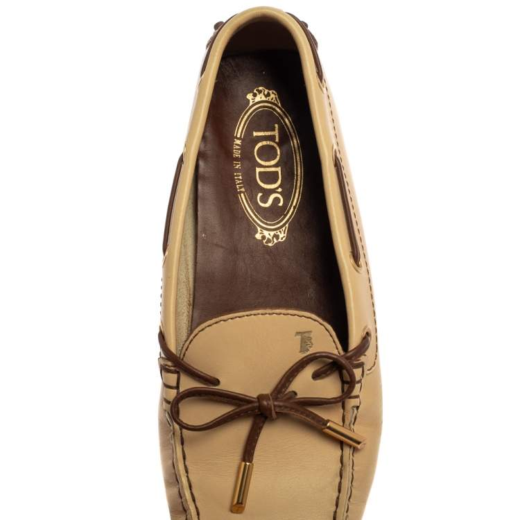 Tod's Beige Leather Gommino Driving Bow Loafers Size 37