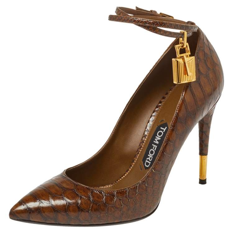 Tom Ford Brown Python Leather Ankle Strap Pumps Size 39