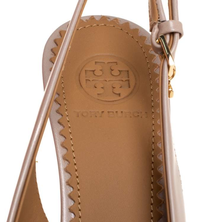 Tory Burch Beige/Purple Ombre Leather Pointed Toe Slingback Sandals Size 36.5