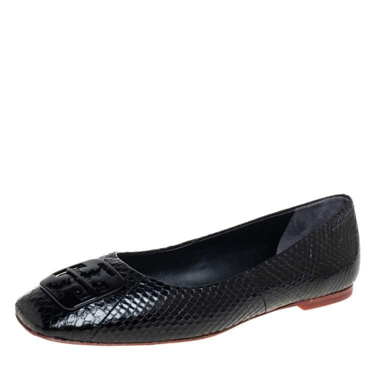 Tory Burch Black Python Georgia Flats Size 37