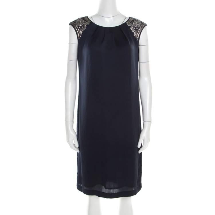 Tory Burch Navy Blue Satin Sequined Shoulder Detail Sleeveless Dress M
