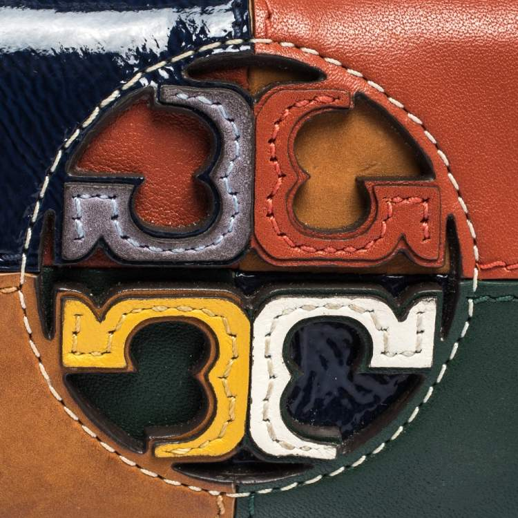 Tory Burch Multicolor Leather Color Block Flap Compact Wallet