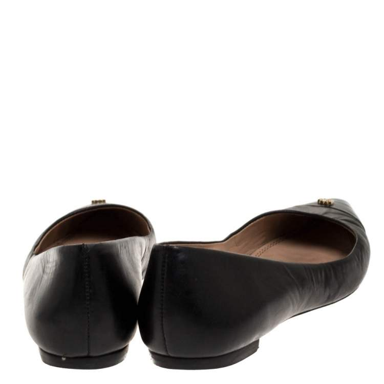 Tory Burch Black Leather Cap Toe Ballet Flats Size 38